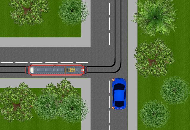 U slaat hier linksaf , moet u de tram voor laten gaan?