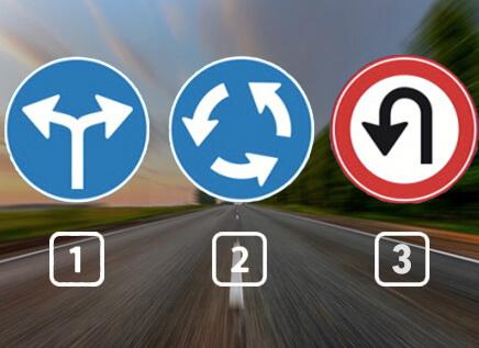 Welk verkeersbord geeft aan dat je bij een rotonde komt?
