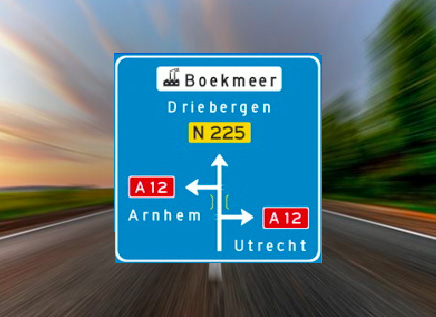 Je wilt richting arnhem rijden. wat vertelt dit bord je?