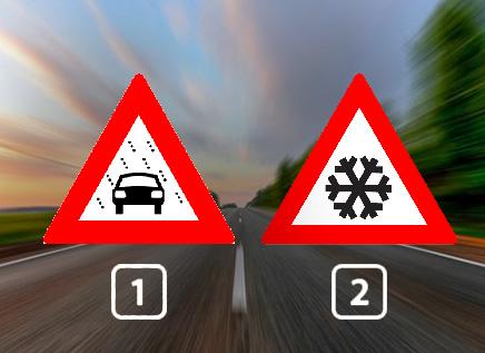 Welk bord waarschuwt je voor slecht zicht door sneeuw, regen of mist?