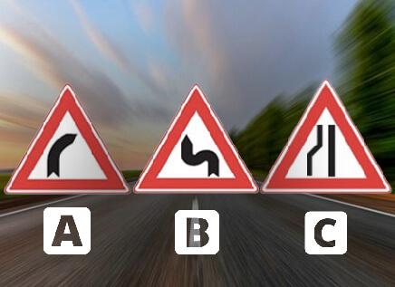 Welk bord waarschuwt voor een bocht naar rechts?