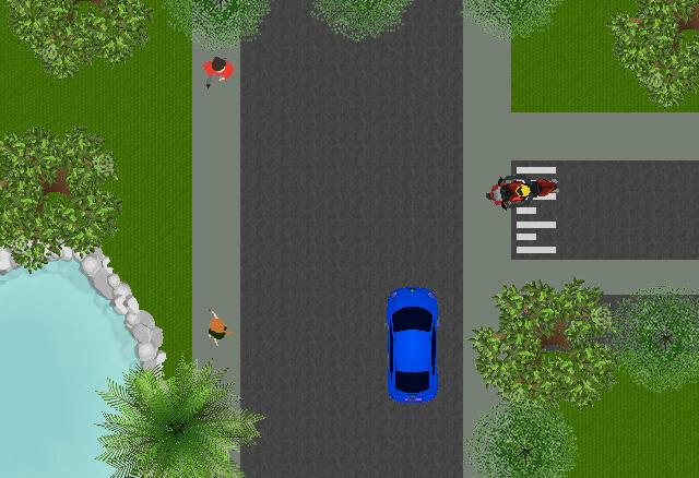 U rijdt rechtdoor. de motor komt van rechts, moet u deze voor laten gaan?