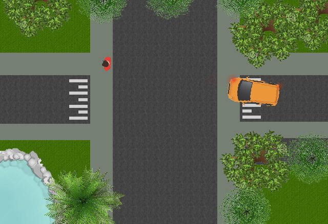 U verlaat de uitrit en slaat rechtsaf. moet u de voetganger voor laten gaan?