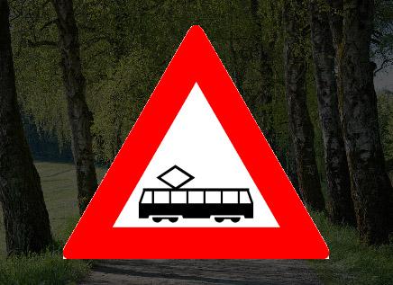 Betekend dit bord: nadert u een tram(kruising)?