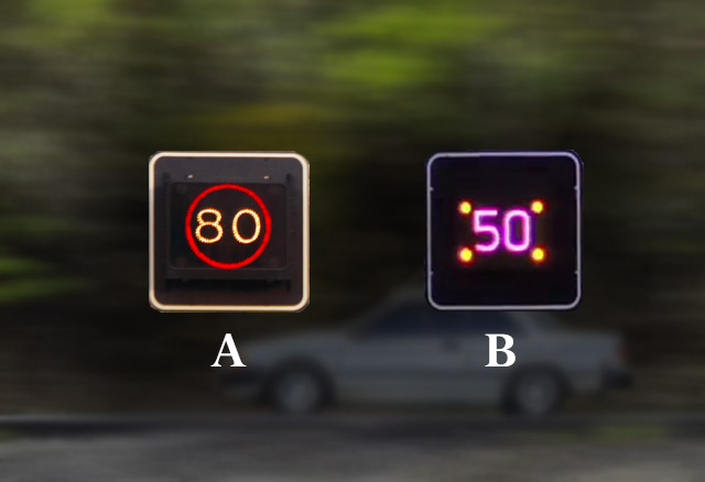 Bij welke afbeelding is de snelheid op het matrixbord de maximaal toegestane snelheid
