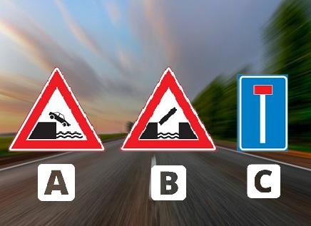Welk bord waarschuwt voor een kade of rivieroever?
