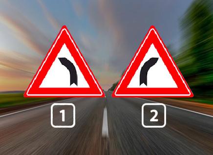 Bij welk bord is de kans groot dat je uitkomt op de weghelft voor je tegenliggers?
