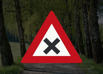 Betekent dit verkeersbord een gevaarlijk kruispunt?