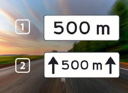 Welk onderbord geeft aan dat het bord voor de komende 500 meter van toepassing is?